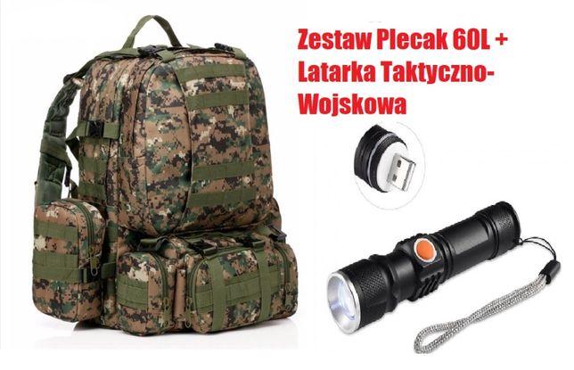 161 09 Nowoczesny Plecak 60L + Latarka(USB) SUPER ZESTAW !!!