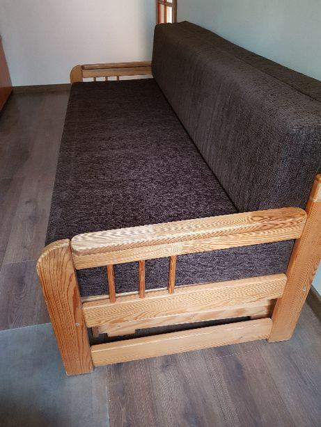 Drewniane rozkładane łóżko sofa kanapa