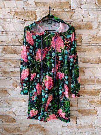 Przepiękna sukienka bluza tunika kwiaty kaptur S/M