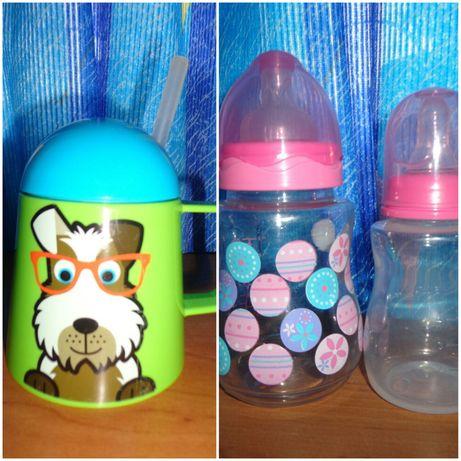 Бутылочки детские поильник с трубочкой
