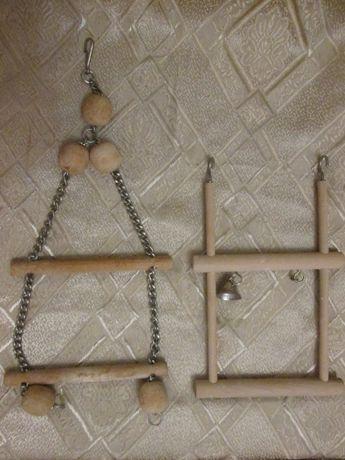 Качели деревянные двойные в клетку для птиц
