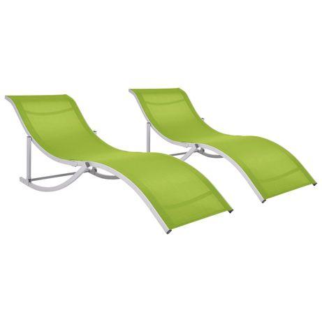 vidaXL Espreguiçadeiras dobráveis 2 pcs textilene verde 47787