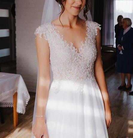 Suknia ślubna + welon r.36