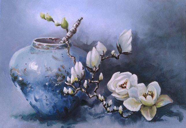 Картина маслом на подарок цветы, картина магнолии в интерьер