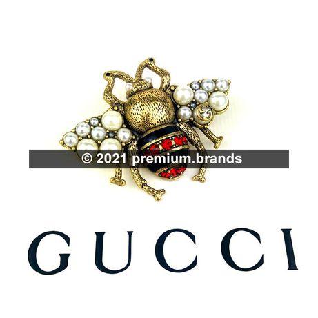 Metalowa Broszka Gucci Pszczoła - kryształki, emalia, szklane perełki