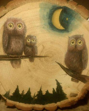 Obraz sowy na plastrze drewna