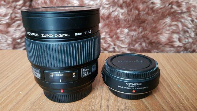 Obiektyw Zuiko Digital ED 8mm F3.5 Fisheye + adapter MMF-2