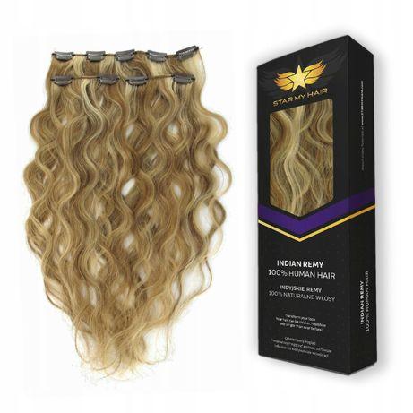 CLIP IN ON naturalne włosy doczepiane 3 taśmy 55cm falowane fale LOKI