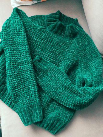 Sweter sweterek butelkowa zieleń z szenili golf milutki
