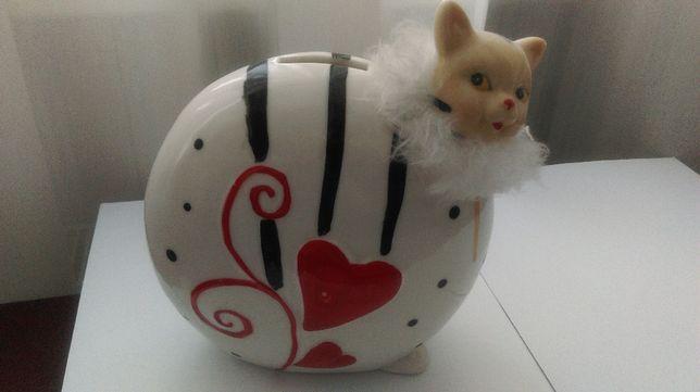 Яркая керамическая копилка статуэтка кот котик кошка котенок.