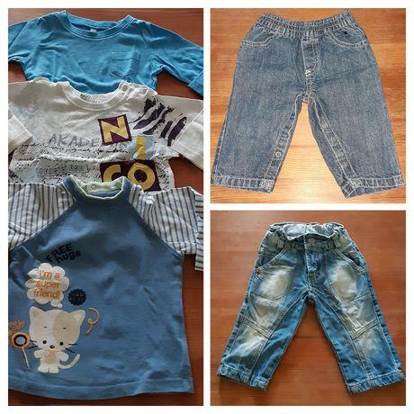 Lote roupa (2 calças de ganga e 3 Sweats) - bebé, menino, 6 meses