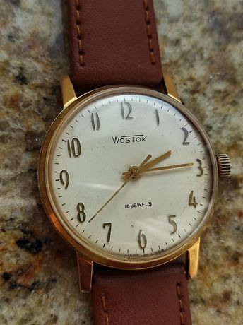 Radziecki zegarek Wostok, złocony, sprawny