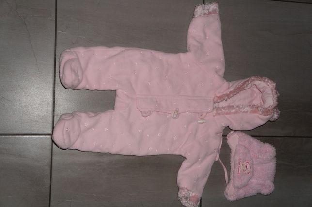 Kombinezon zimowy dla noworodka 0+3msc dziewczynka różowy idealny