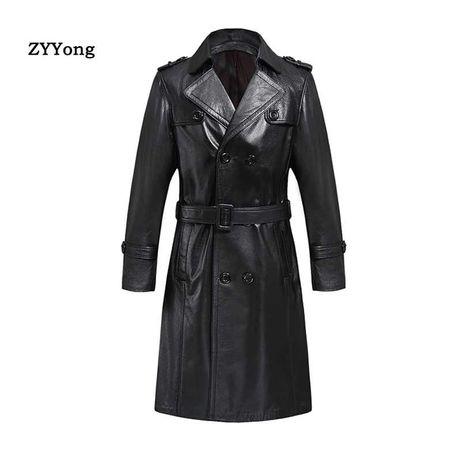 Luksusowy trencz płaszcz skórzany męski