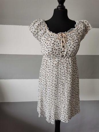 Letnia kremowa sukienka we wzory rozmiar 34 / XS