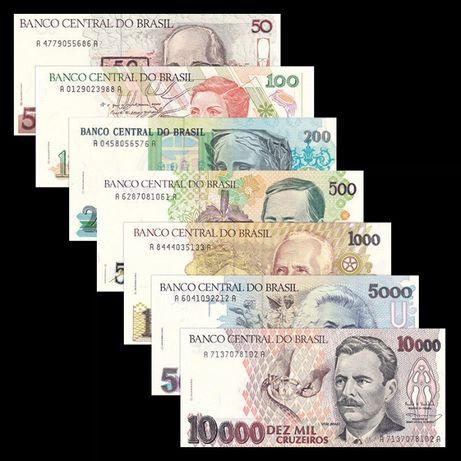 Brasil lote 7 notas 50 a 10000 Cruzeiros UNC
