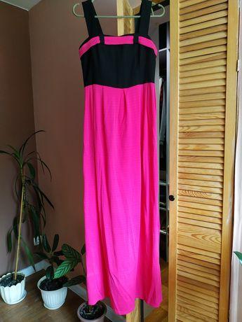 Платье длинное в пол S-M фуксия черный вечернее сарафан сукня