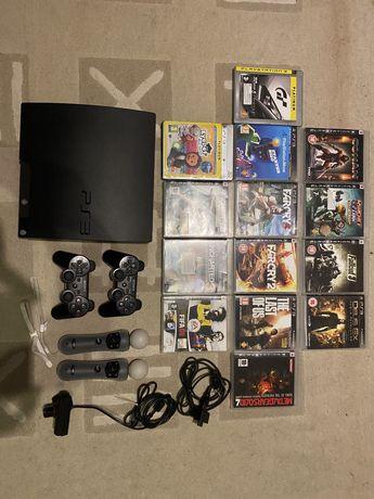 Konsola PS3 playstation 3 zestaw, 2 pady, 2 move, 14 gier,stan idealny
