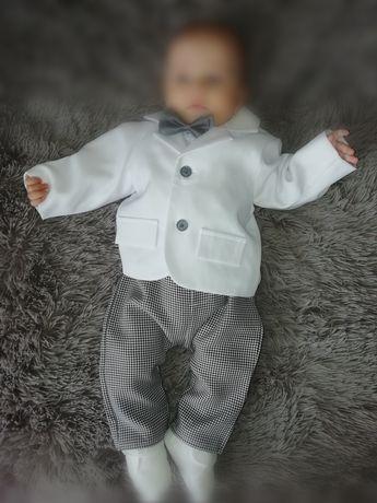 Eleganckie ubranko dla chłopca chrzest wesele pepitka j. nowe r. 68