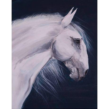 Faço retratos de cavalos e de outros animais a partir de fotografia