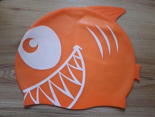 Czepek pływacki nowy pomarańczowy czerwony AQUA, błękitny na basen