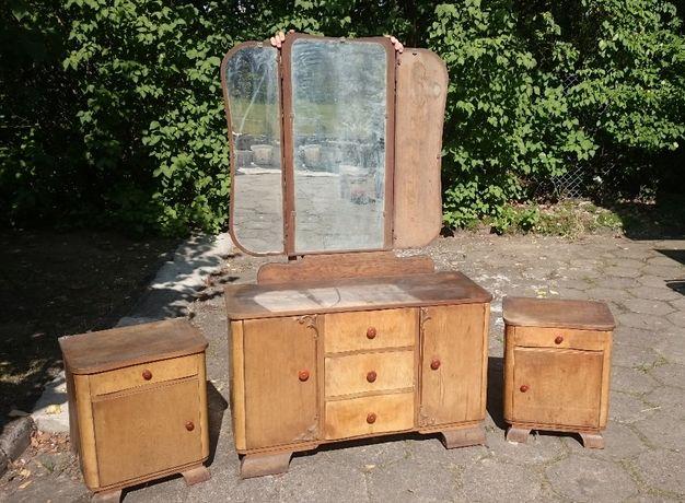 retro meble toaletka + 2x szafka nocna komplet vintage +szafa +łóżko