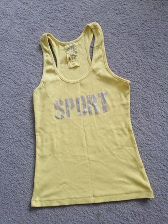 Żółta bokserka sml bluzka cyrkonie prążek bluzka