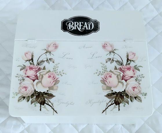 Chlebak drewniany róże biały glamour vintage
