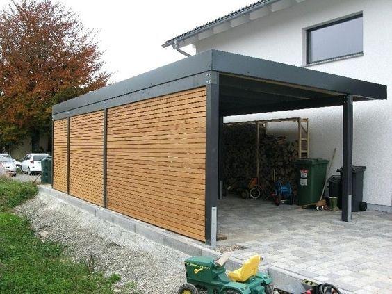 Carport wiata garażowa. Nowoczesny styl połączenia stali i drewna.