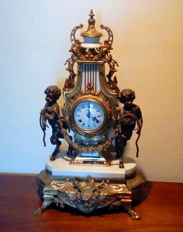 Relógio Mesa Bronze Alabastro Francês Séc XIX
