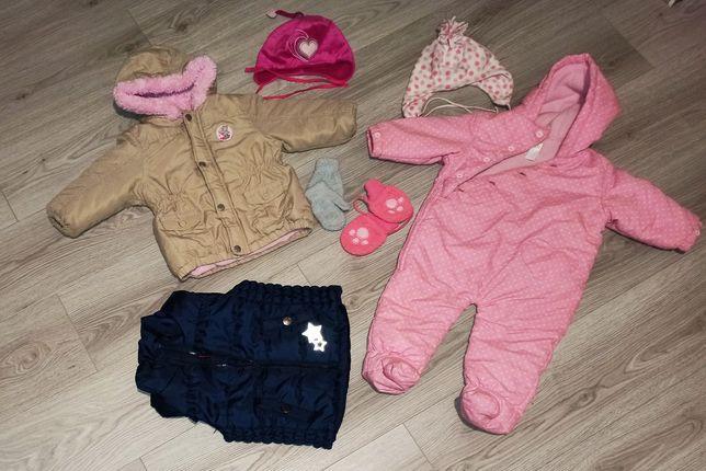 80-86 Kombinezon, kurtka zimowa czapka zimowa, rękawiczki komplet