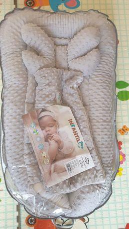 Kokon niemowlęcy minky kołderka poduszka motylek