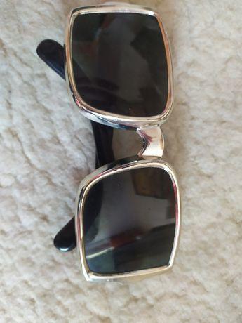 używane męskie czarno-srebrne okulary przeciwsłoneczne prl