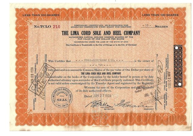 Bonds Shares Ações The Lima Cord Sole and Heel Company 1938 USA