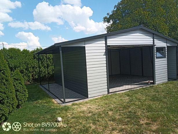 garaż blaszak z wiatą 6x6 5x6 szary antracytowy profil ocynkowany