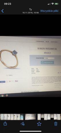 Pierscionek zaręczynowy Brju z brylantem zloty 585 pudelko + paragon