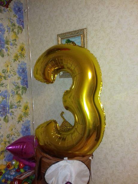 """Кулька/шар Flexmetal Цифра 3 розмір 32""""(65 см) Золото доставка Justin"""