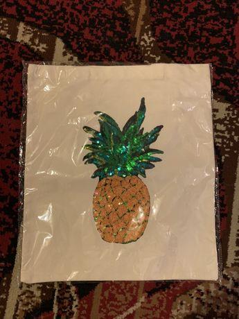 Torba Eko Materiałowa z cekinowym Ananasem