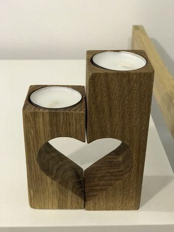 Подсвечники деревянные сердце набор 2 подсвечника натуральное дерево