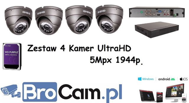Zestaw 4 kamer 5mpx UltraHD monitoring 4-16 kamery Montaż Kamer Kłaj