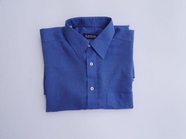 Koszula męska z krótkim rękawem/niebieska koszula.
