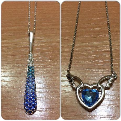 Украшения с синими/голубыми камнями (цепочки с кулонами-капля,сердце)