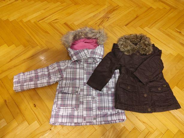 Kurtka i płaszcz zimowe 2 sztuki zestaw dziewczyka rozm 92