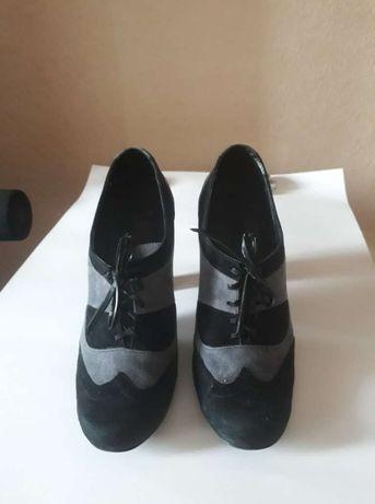 Туфли серо-черные, натуральная замша. Vero Cuoio