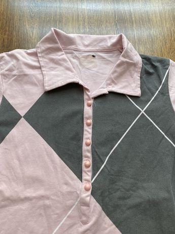Różowo - szara koszulka polo, rozmiar S