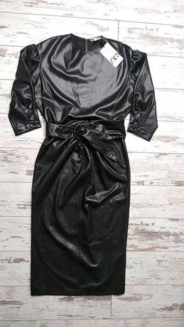 Zara sukienka ze sztucznej skóry S