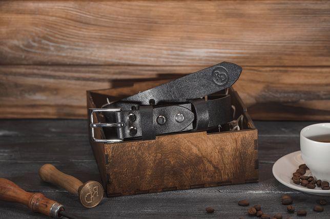 Ремень кожаный Черный ручной работы 30мм