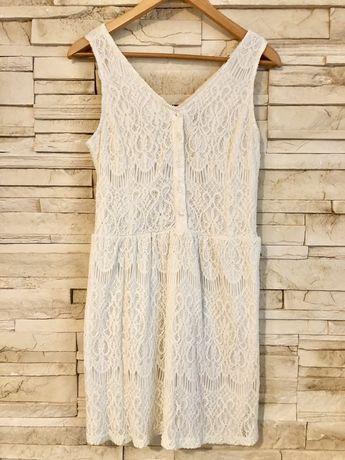 Sukienka Carry do karmienia, rozpinana, rozciągliwy materiał, ecru,
