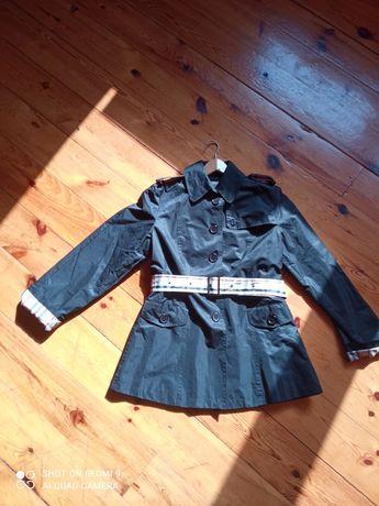 Płaszczyk trencz kurtka krata czarny M L burberry