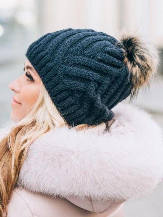 Зимняя шапка 40% шерсти с натуральным помпоном на флисе Винница - изображение 1